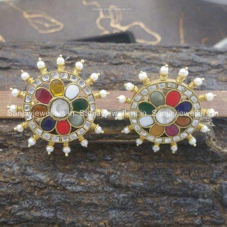 silver - gold polished - stud - kundan earring