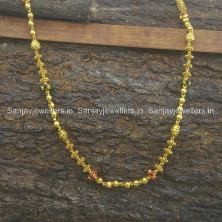 silver - chain - gold polished - with stones