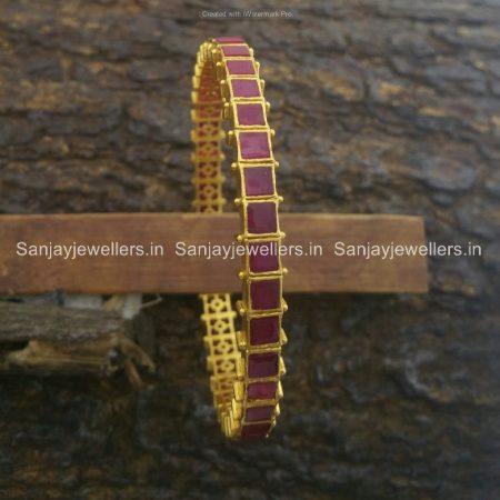 silver - gold polished - kada - ruby bangle
