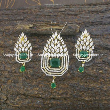 zircon - cz - artificial - stone - fancy - party wear - pendant set