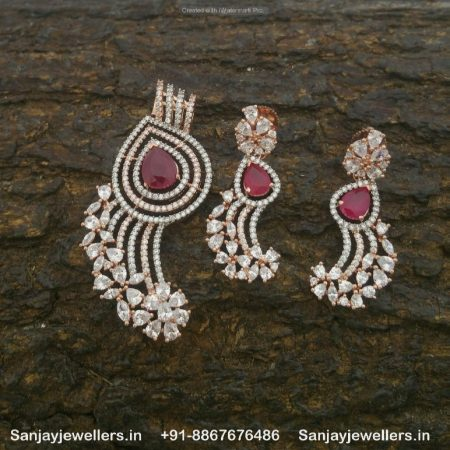 zircon pendant set - red stone pensdant - silver pendant - white stone pendant - stone pendantset
