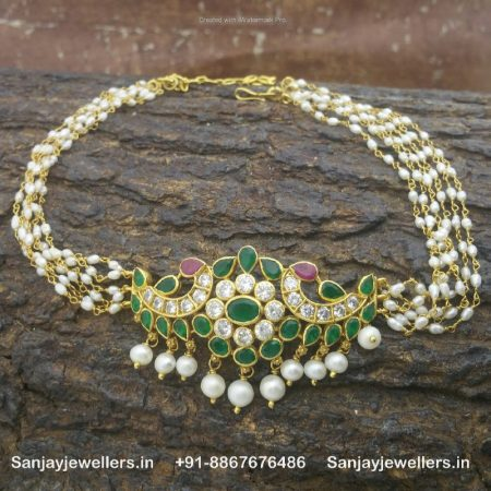 silver gold polished necklace - silver pendant chain - traditional choker