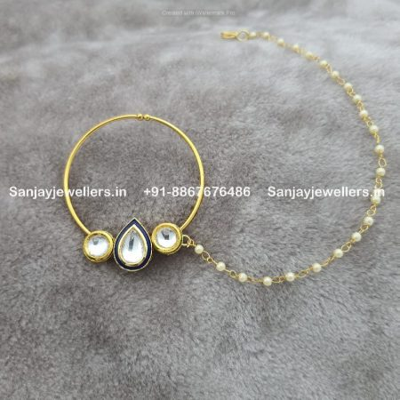 pressing nose ring - bridal nath - artificial bridal jewellery - clip onn nosepin