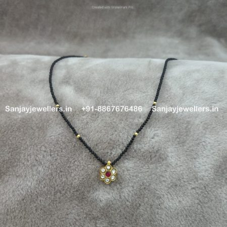 stone mangalsutra - artificial mangalsutra - simple mangalsutra - small mangalsutra pendant chain - kundan mangalsutra - silver gold polished